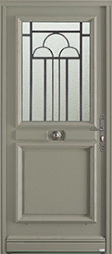 mod le cambon porte d 39 entr e bois classique mi vitr e une grille choisir brute ou laqu e selon. Black Bedroom Furniture Sets. Home Design Ideas