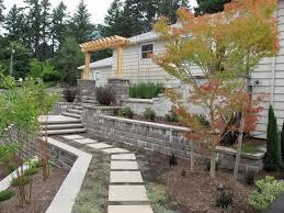 Negative Slope Towards House Front Yard Landscape Google Search Terraced Backyard House Landscape Retaining Wall