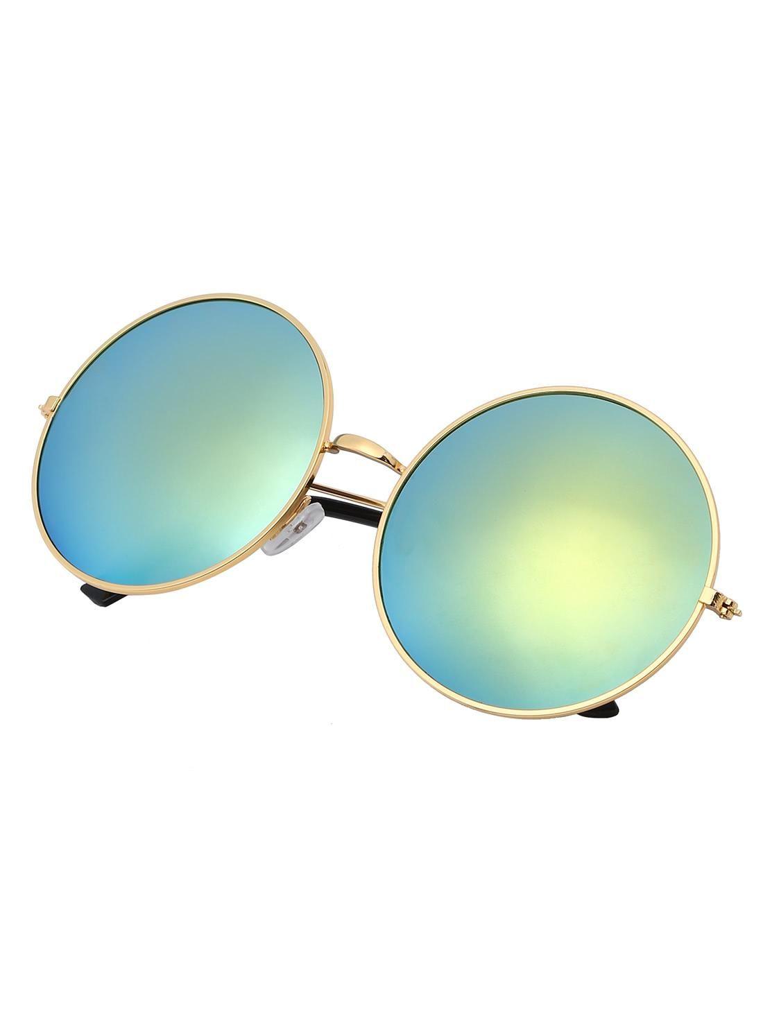 Golden Mirrored Lenses Retro Round Sunglasses   Round sunglasses ...