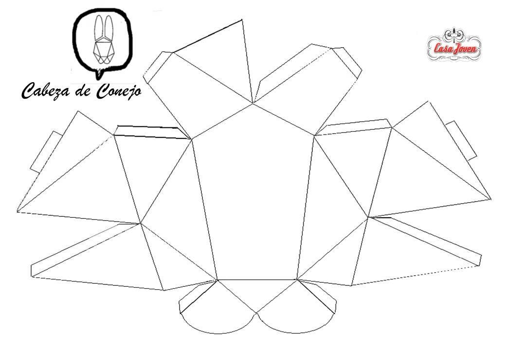 Molde de cabeza de conejo para imprimir en hoja A4. | Paper Love ...