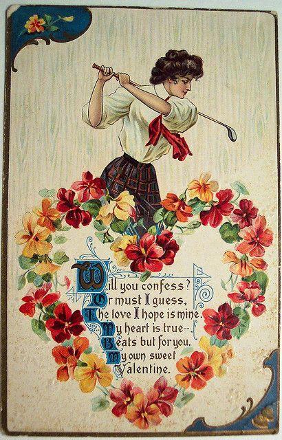 Vintage valentines day postcard golf gilded age gilded age gibson girl golfer valentines day greeting m4hsunfo