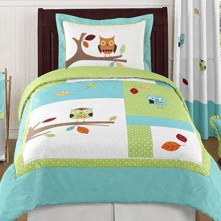 Cozy Line Pink Owl Cotton 3 Piece Quilt Set Twin Comforter Sets Comforter Sets Twin Comforter