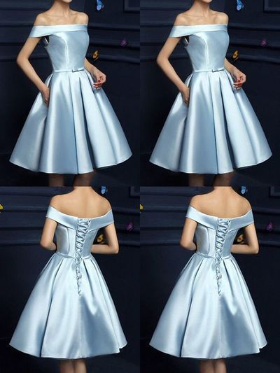 Elegant Off The Shoulder Homecoming Dresses Light Blue Homecoming Dresses Short Prom Dresses Cute Bridesmaid Dresses