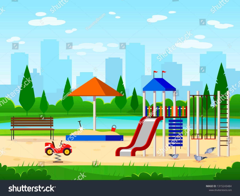 Kids Playground City Park Playground Leisure Outdoor Activities Cityscape Landscape Garden Entertaining Cartoon Vector Illustration Wind Turbine Anime Wind