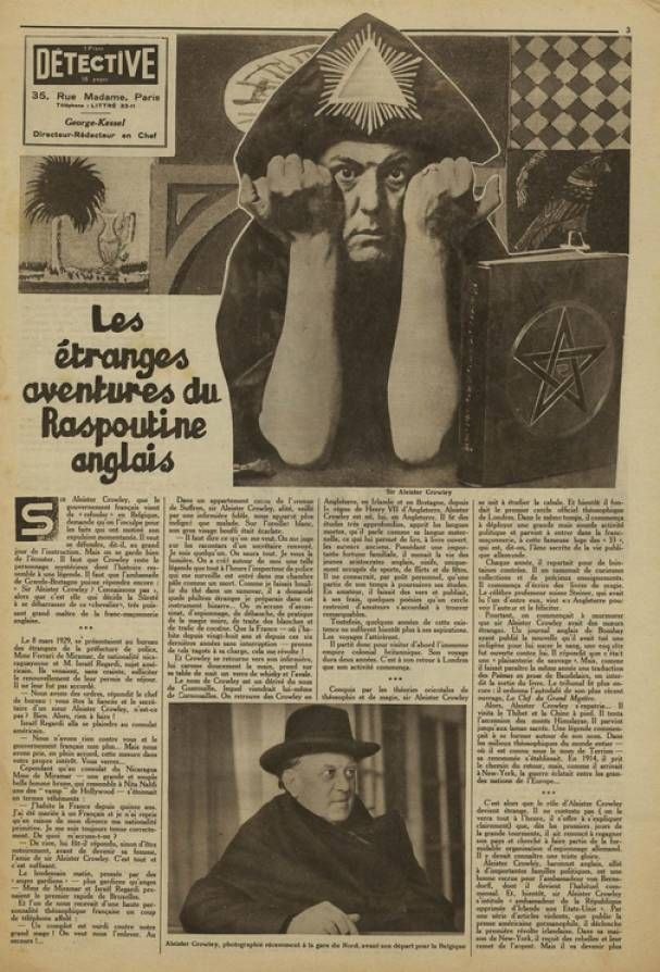 In Search of Pagan Hollywood — Aleister Crowley on the cover ofDÉTECTIVE...