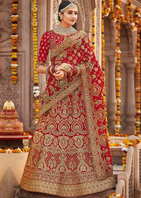 Red Embroidered Bridal Lehe... | Red lehenga choli ...