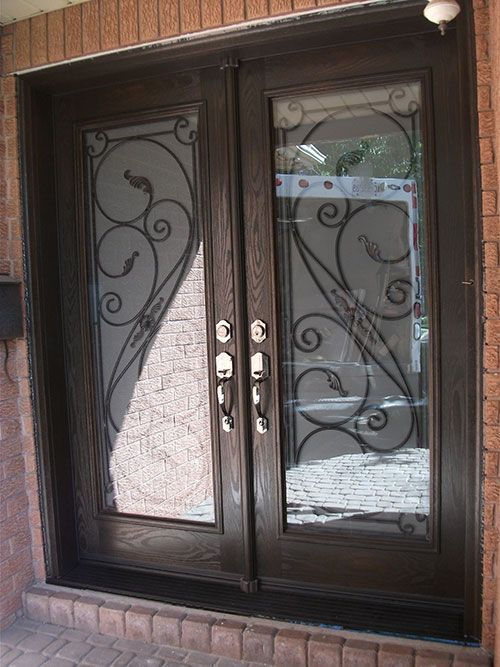 Front Entry Doors Wrought Iron Entrance Doors Fiberglass Doors Serafina  Design With Frosted Glass And Multi Point Locks Installed By Windows And  Doors ...