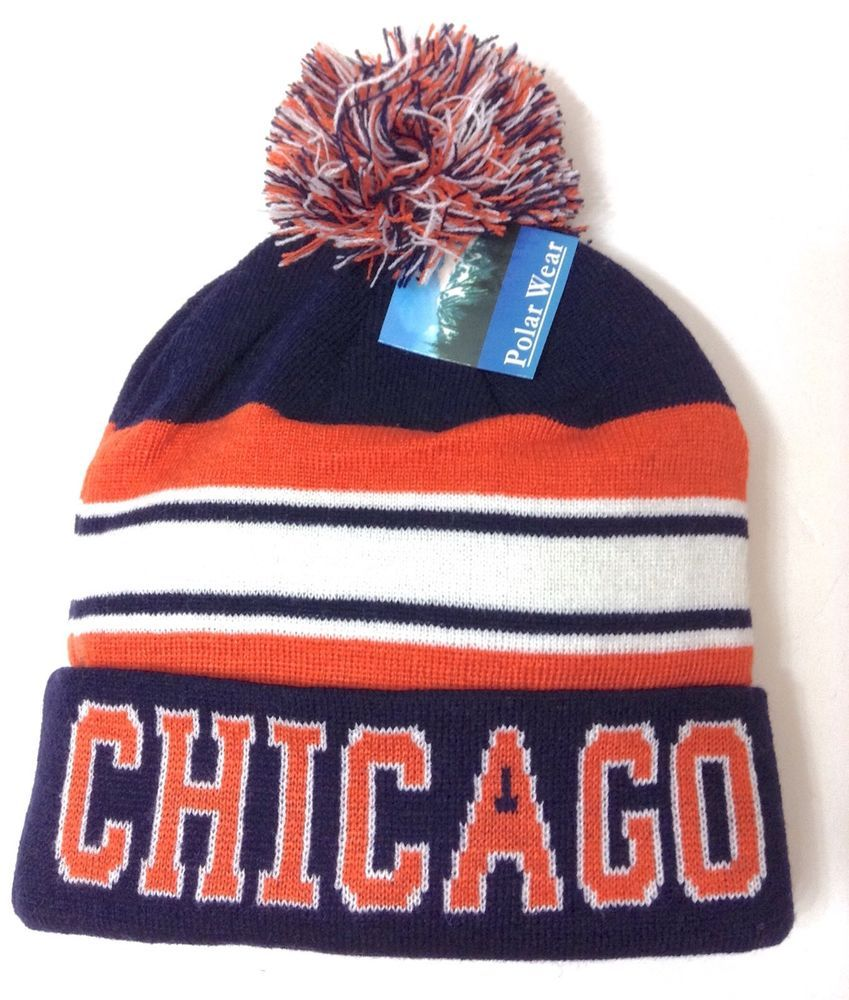 CHICAGO POM BEANIE Navy-Blue Orange White Winter Knit Hat Bears Colors Men  Women  PolarWear  Beanie 75854a94ca3c