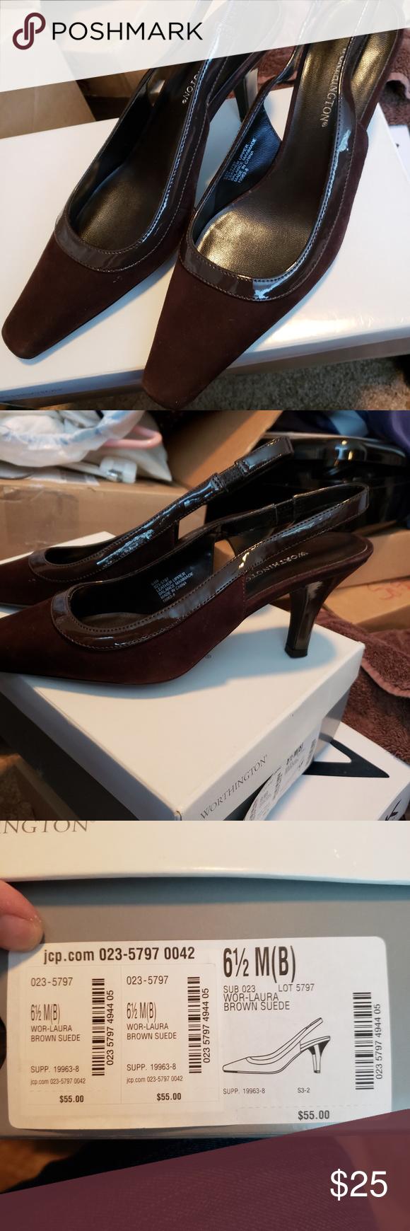 Worthington Brown Suede Heels New In Box Worthington Brown Suede Heels From Jcpenney Size 6 5 Worthington Shoes Heels Brown Suede Heels Suede Heels Heels