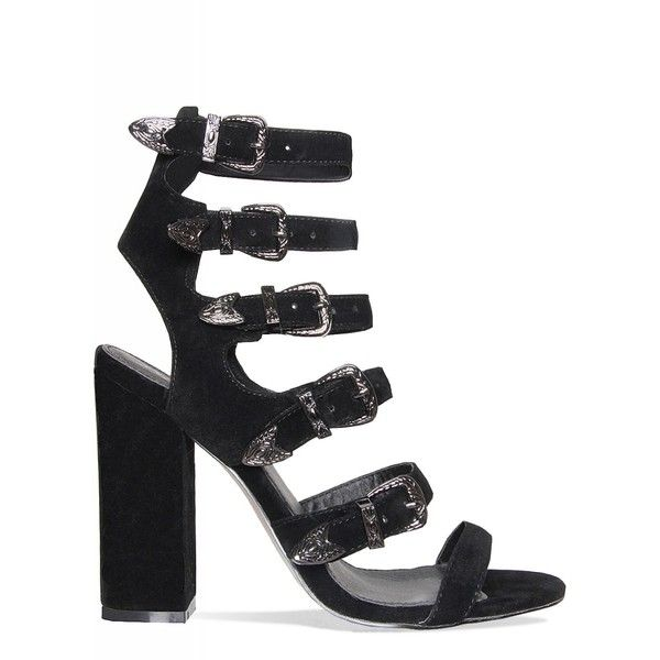 3adf4067d39 Jennifer Black Multi Buckle Block Heels : Simmi Shoes ($44) ❤ liked ...