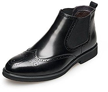 Amazon.com | KANGNAI Men's Chelsea Boots Genuine Leather Dress Booties Winter Brogue Shoes | Boots