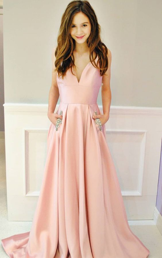 Princess Pink Long Prom Dress with Pockets, Prom Dress with Spaghetti Straps