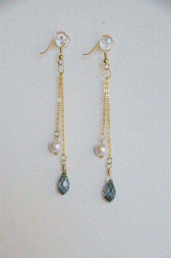 d52b9df87 Blue Crystal Earrings / Pearl Dangle Earrings / Simple Earrings / Cute  Earrings / Blue Earrings / E