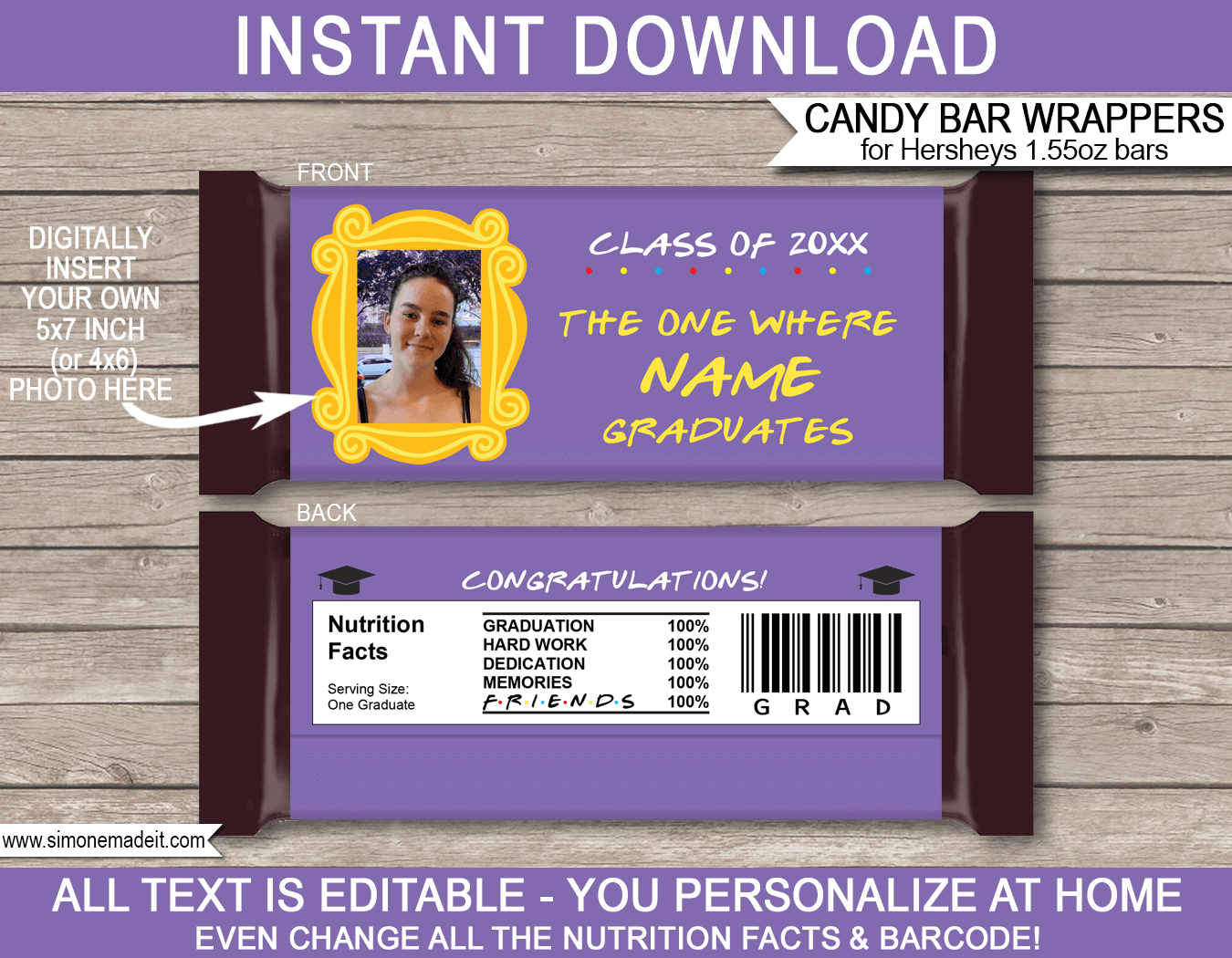 The One Where Friends Theme Graduation Candy Bar Wrappers