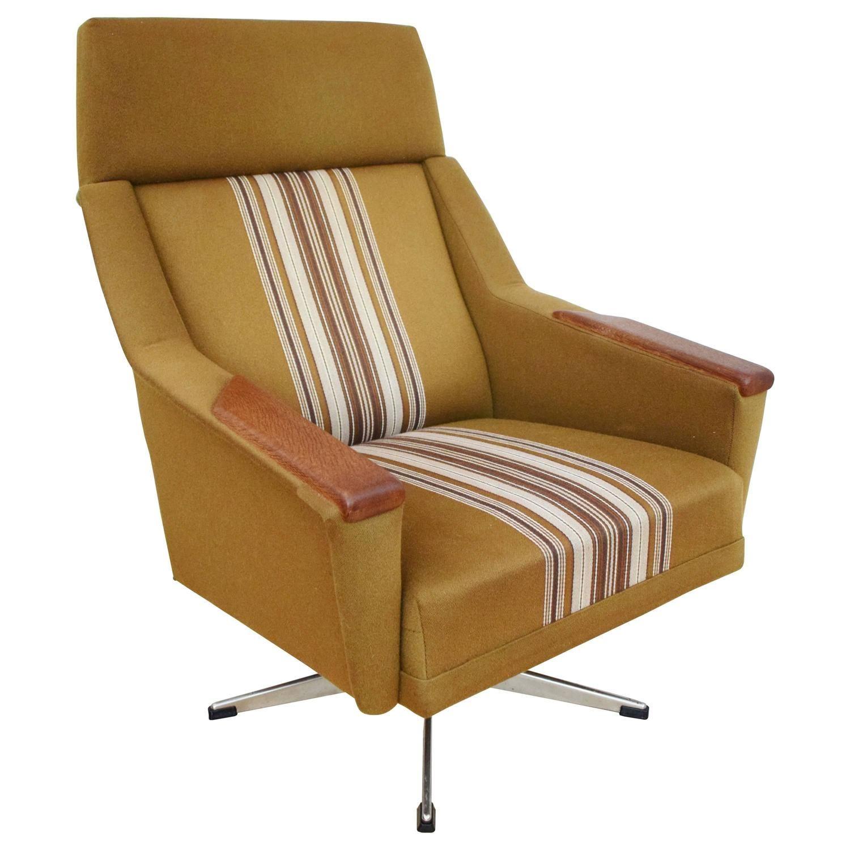 Mid Century Retro Danish Teak Swivel Lounge Armchair, 1960S 1970S