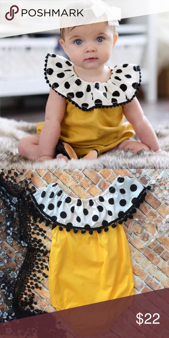 940acc838507 Boutique Baby Girl Bubble Romper Trendy golden yellow bubble romper with  bold gathered collar that is white   black dots ruffle with black Pom Pom  fringe ...