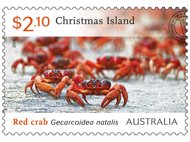 collectorzpedia australia stamps christmas island red crab migration