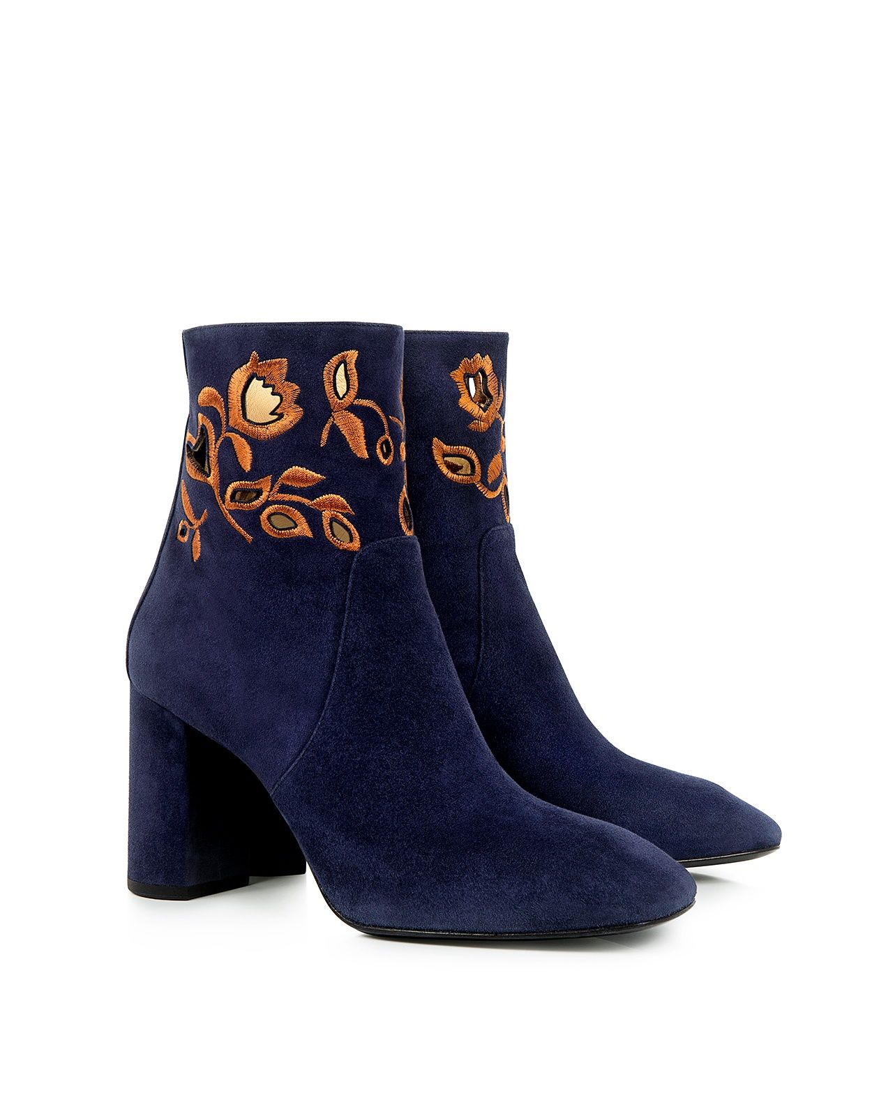 Zooey Floral Embroidered Suede Ankle Boots In 2019 Booties Boots