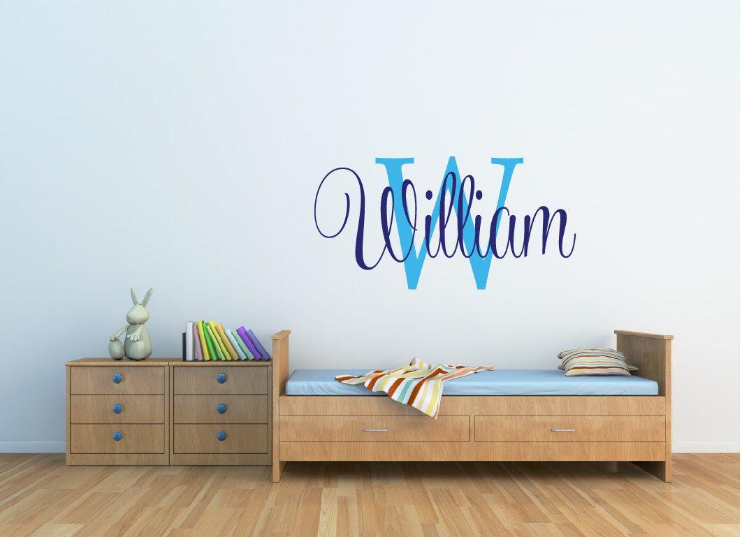 Boys Name Wall Decal Nursery Wall Decal Baby Wall Decals Boy - Monogram wall decal for nursery