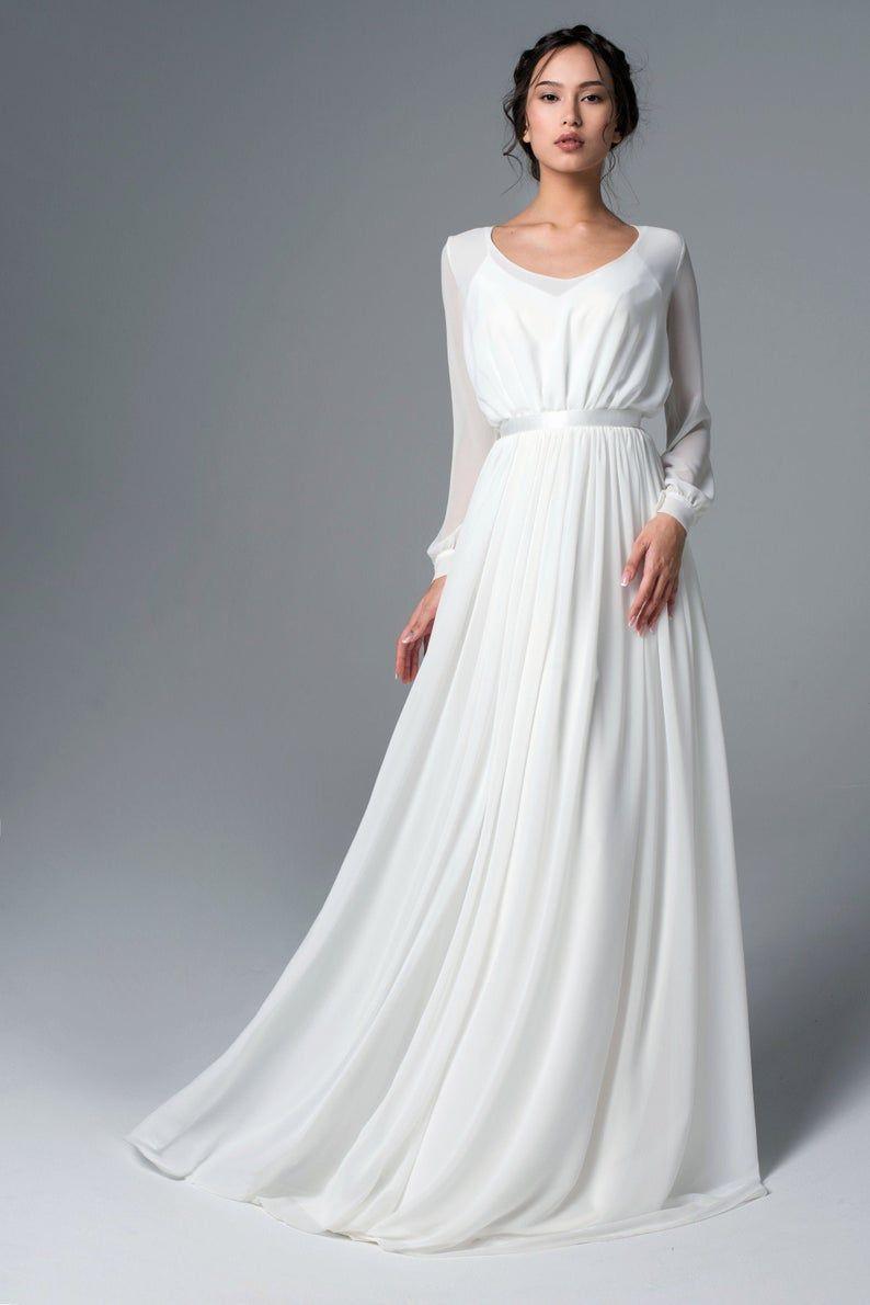 Long Sleeve Rustic Wedding Dress Simple Wedding Dress Etsy In 2020 Wedding Dress Long Sleeve Simple Dresses Etsy Wedding Dress
