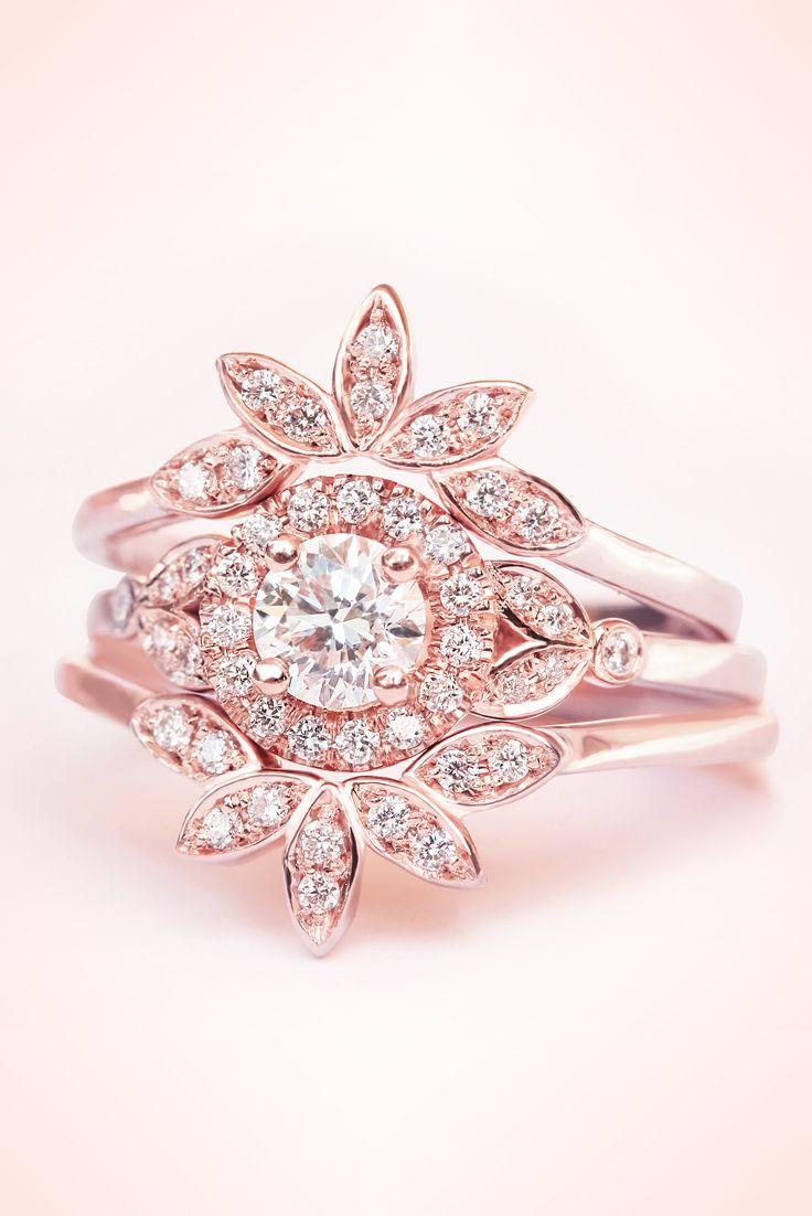 Diamond Rome Ring, Three Ring Set, Diamond Ring Set, Leaves Diamond ...