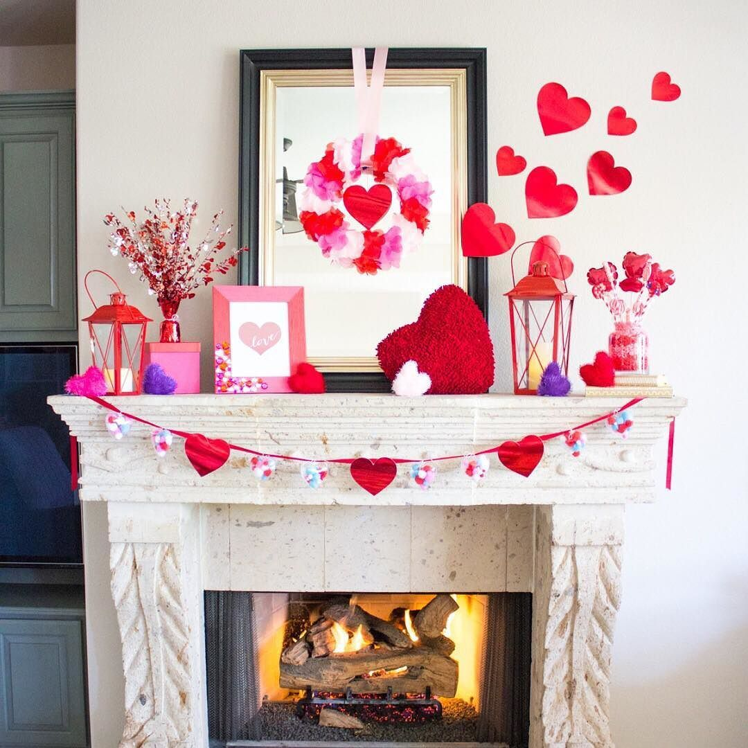 Create A Lovely Valentine S Day Mantle Get The Steps From Designimprovi Valentine S Home Decoration Diy Valentine S Day Decorations Valentine Mantle Decor