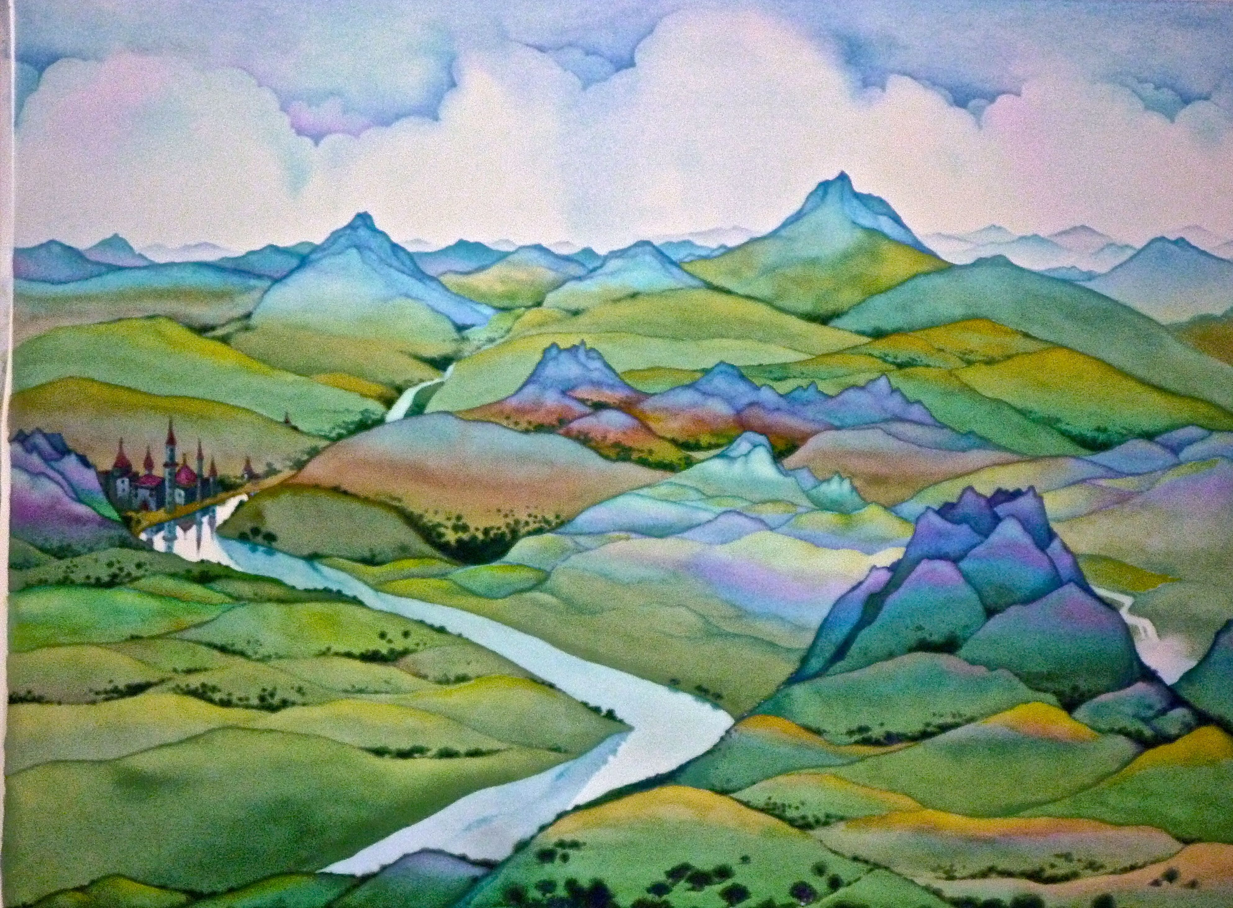 """Neil Waldman """"In the Mountains of My Mind"""" watercolor -18""""x24"""""""
