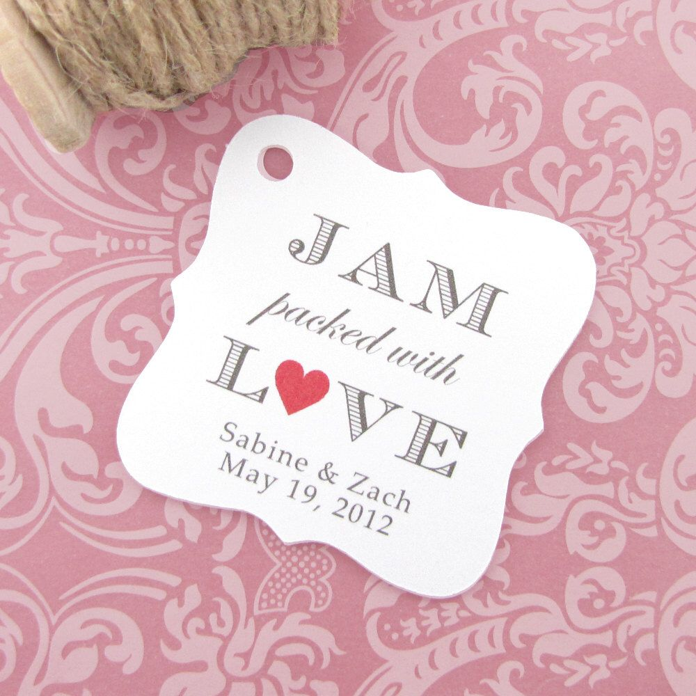 Jam packed with love tag (30) - Jam wedding favor - Wedding favor ...