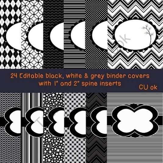 24 Editable Black White & Grey Binder Covers With Spine