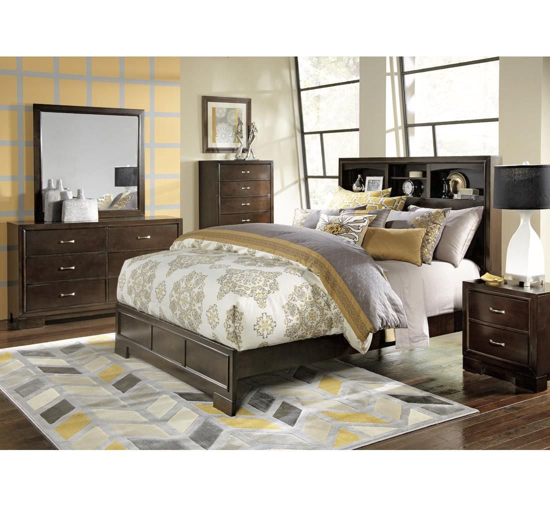 This Contemporary Merlot Bedroom Features A Bookcase Headboard