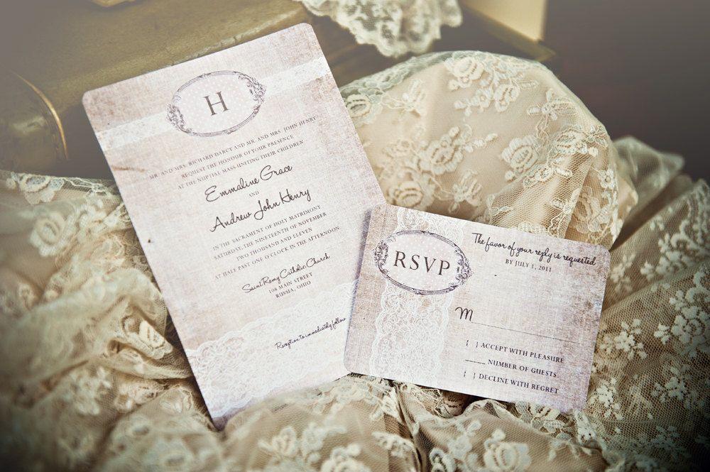 Linen Lace Wedding Invitations - Vintage Romantic Antique Lace and Rustic Linen - DEPOSIT - 09260905-I. $50.00, via Etsy.