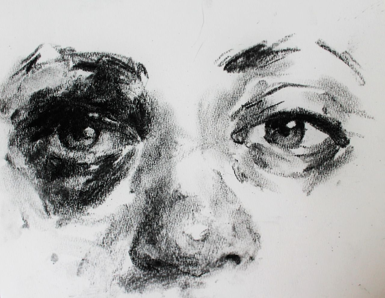 Charcoal sketch of a friend s eye after a seizure for Basic portrait painting
