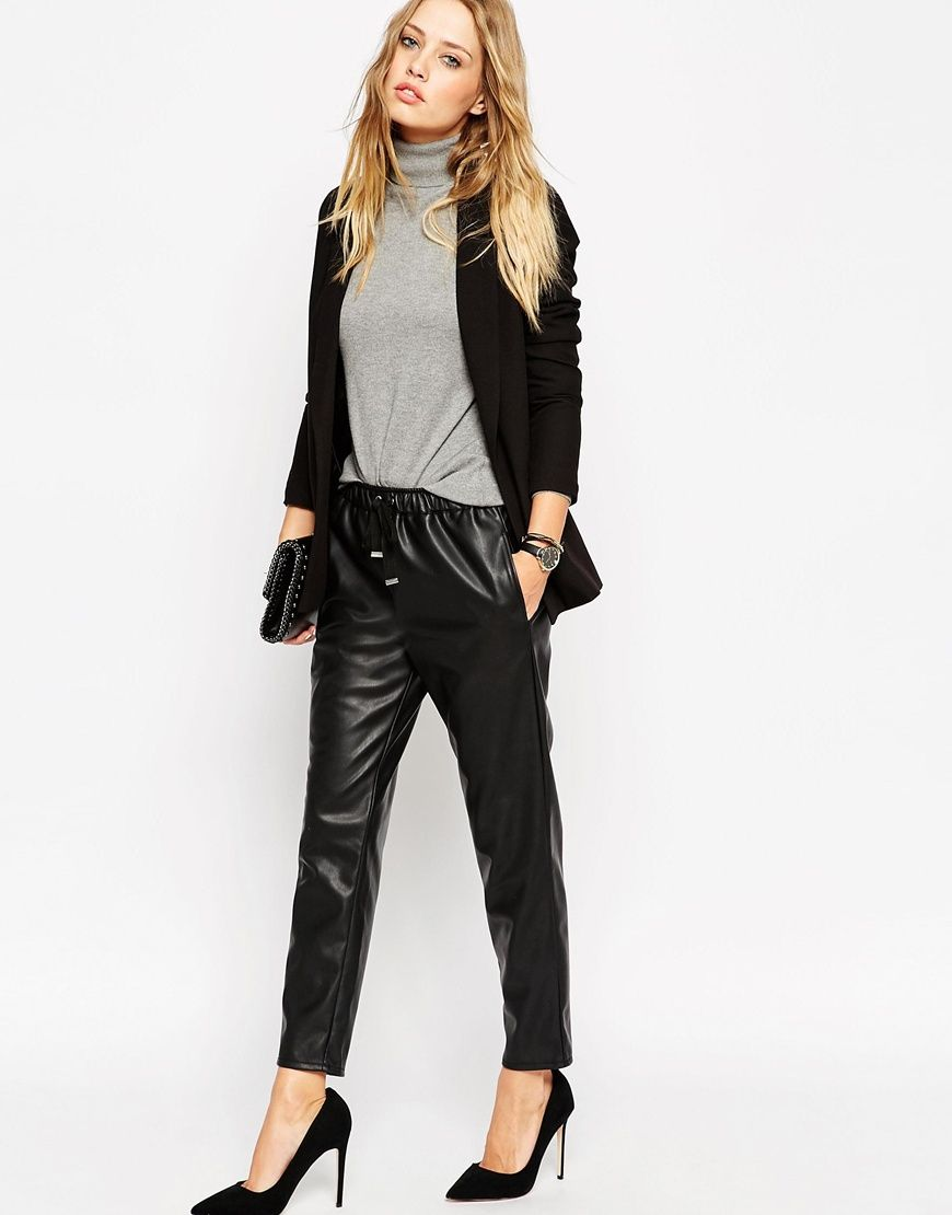 087934f26ee4d Image 1 of ASOS Leather Look Joggers | Things to Wear | Leather ...