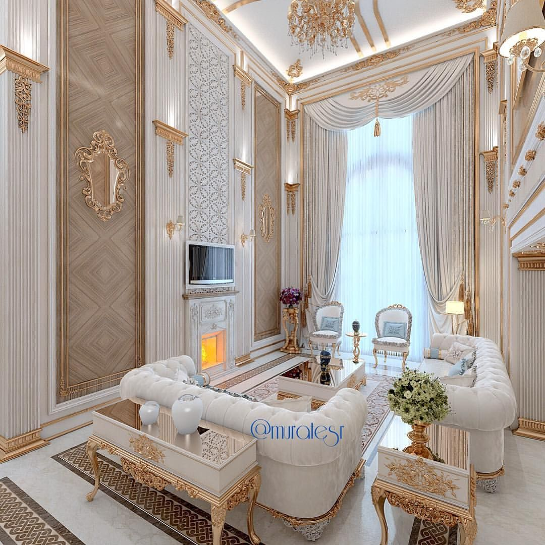 White And Gold Living Room Luxury Interior Design Gold Living