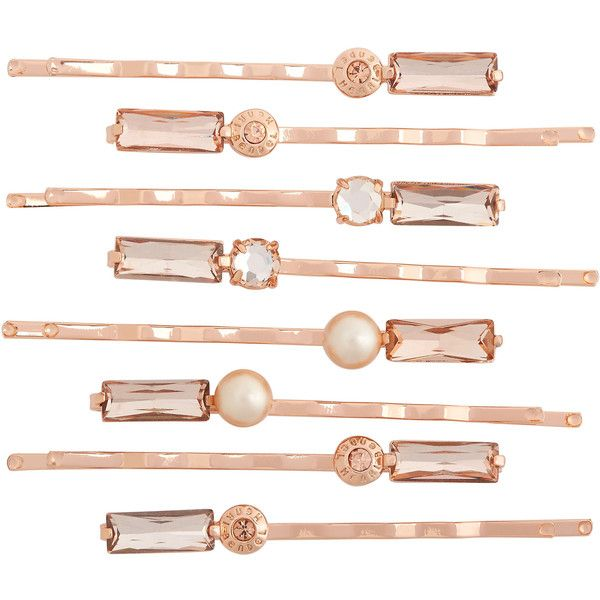 Henri Bendel Vanderbilt 8-Pack Bobby Pin Set (3,795 INR) ❤ liked on Polyvore featuring accessories, hair accessories, rose gold, henri bendel hair accessories и henri bendel