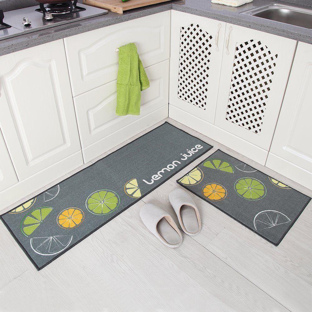 Set 2 Non Slip Kitchen Floor Mat Doormat Rubber Back Rug Carpet Grey/Navy/ Black