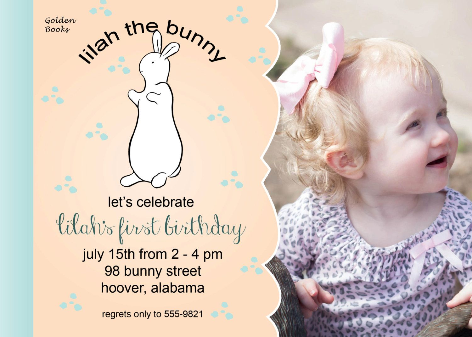 first birthday invitation for my son%0A Pat the Bunny birthday invitation or baby shower by Rachellola