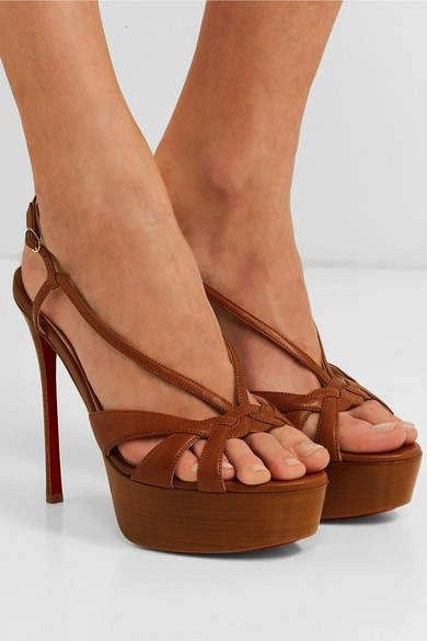 Louboutin Veracite 130 Leather Platform Sandals  Tan Christian Louboutin Veracite 130 Leather Platform Sandals  Tan  jewels chanel chanel inspired bracelets pearl jewelry...