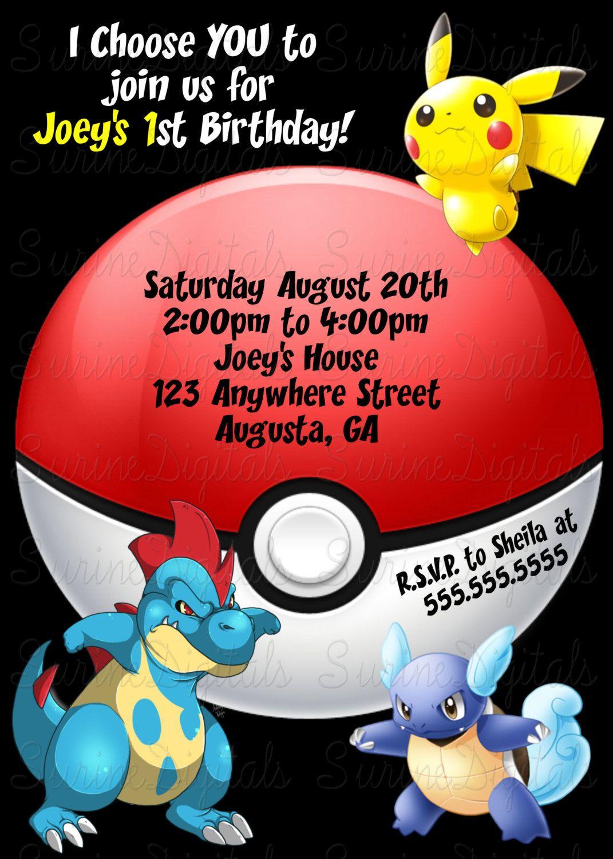 Pokemon Birthday Party Invitation, Childs Pokemon themed party ...
