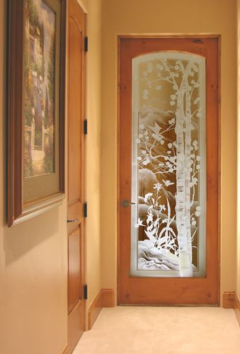 Etched Aspen Trees And Wildflowers Glass Glass Etching
