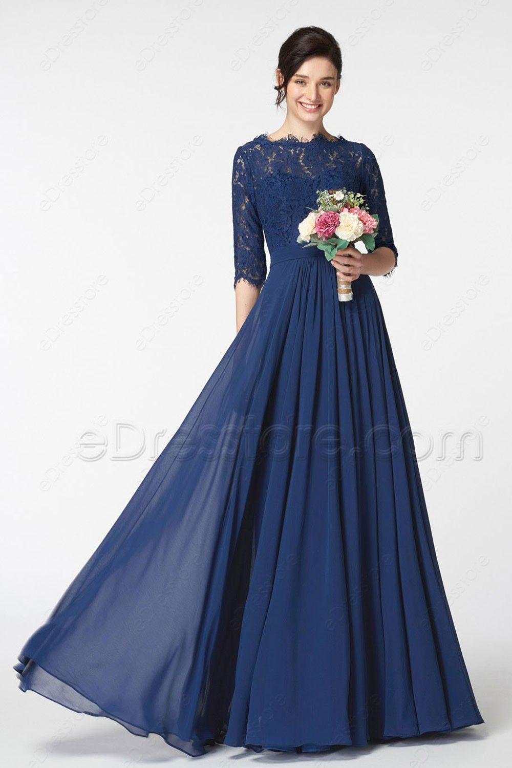 Navy Blue Lace Modest Bridesmaid Dress with Sleeves 3fa1882eca69