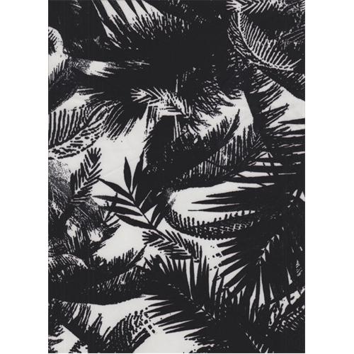 White Black Palm Crepe De Chine Tree Print Abstract
