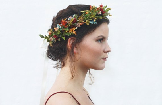 9add131de Rustic Tuscan Autumn Floral Crown, Wildflower Headpiece, Flower Crown,  Floral Hair Wreath, Bridal Fl
