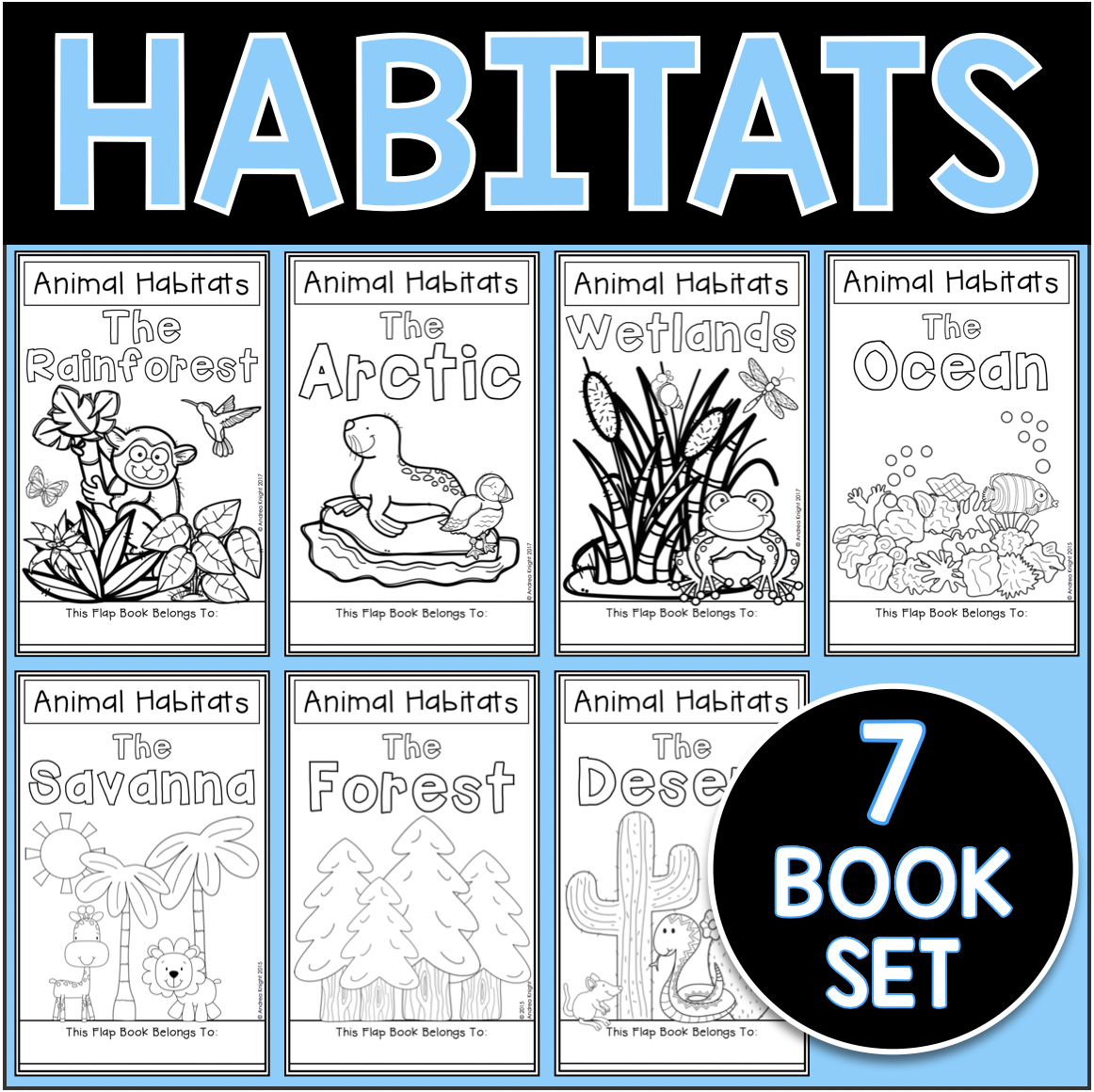 Animal Habitats A Set Of 7 Flap Books Flap Book Animal Habitats Written Comprehension [ 1160 x 1162 Pixel ]
