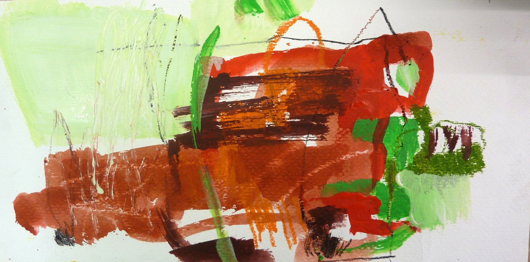 Komplementär Farbklang,Rot-Grün, auf Papier mit Acrylfarbe gemalt