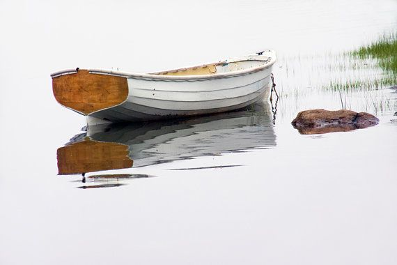 White Maine Boat on a Foggy Morning a Nautical by RandyNyhofPhotos