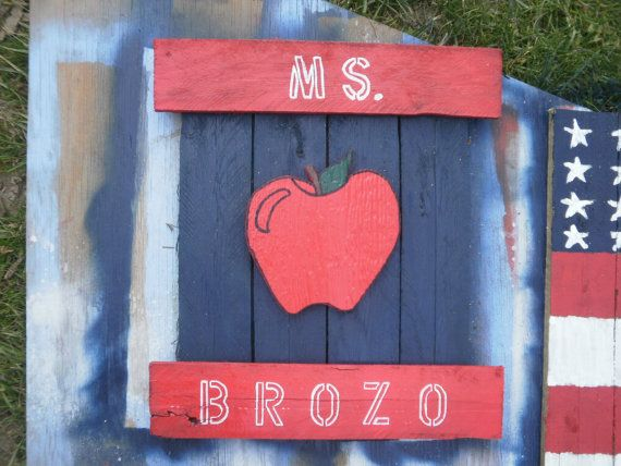 Personalized teachers sign made from reclaimed wood