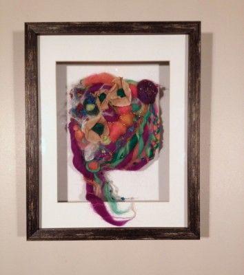 "Deborah Younglao framed Needle felt art: ""Feelin Kinda Crazy Today"""