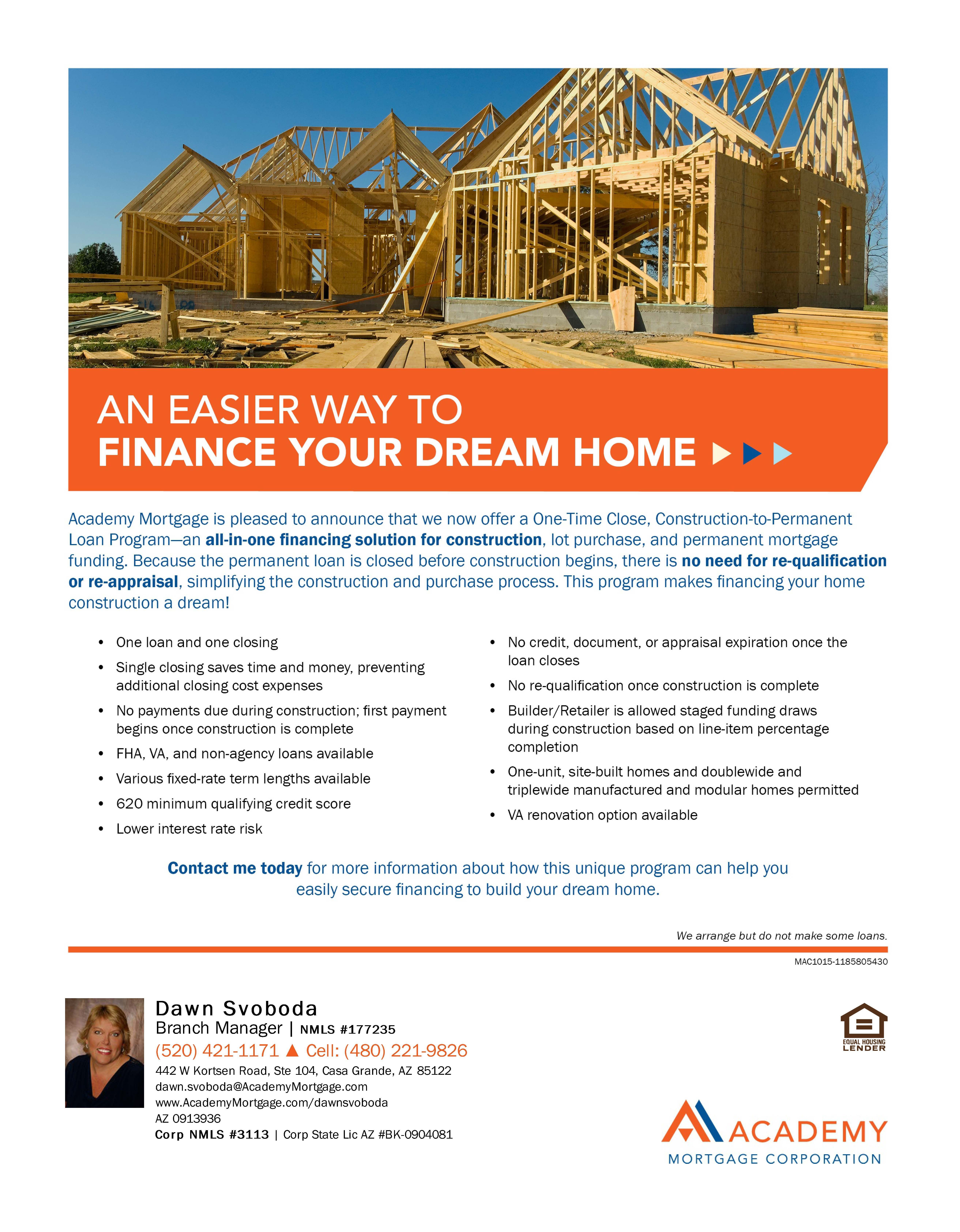 One time close construction loan program flyers for Construction loan to build a house