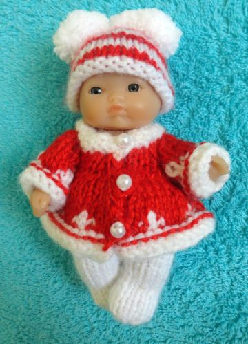 """Hand knitted Christmas clothes for 5"""" Berenguer Doll (#156)   eBay"""